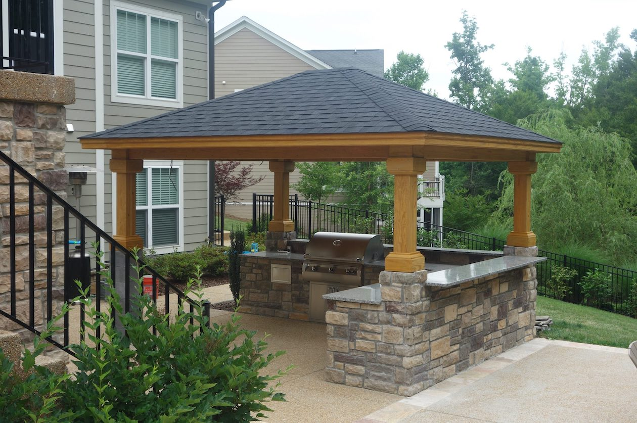 Stone gazebo with grill installed in Long Island NY.